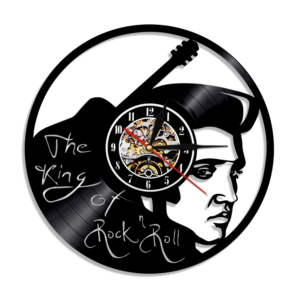 1piece elvis presley pop music vinyl clock the king of rock and 1piece elvis presley pop music vinyl clock the king of rock and roll antique handmade 3d hanging watches gift for music lover in wall clocks from home amipublicfo Images