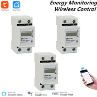 3 Pcs Alexa Compatible Tuya Power Meter WiFi Power Consumption Switch Energy Monitoring Meter 110V/220V Din Rail Remote Control
