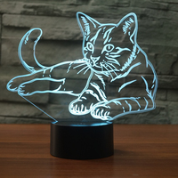 Cat Design 7 Changing Colors 3D Acrylic LED Night Light Premium 7 Colors Cat USB Children