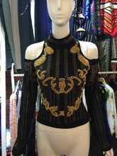 YLT001 font b Women b font Llong sleeved pearl beaded font b shirts b font coat