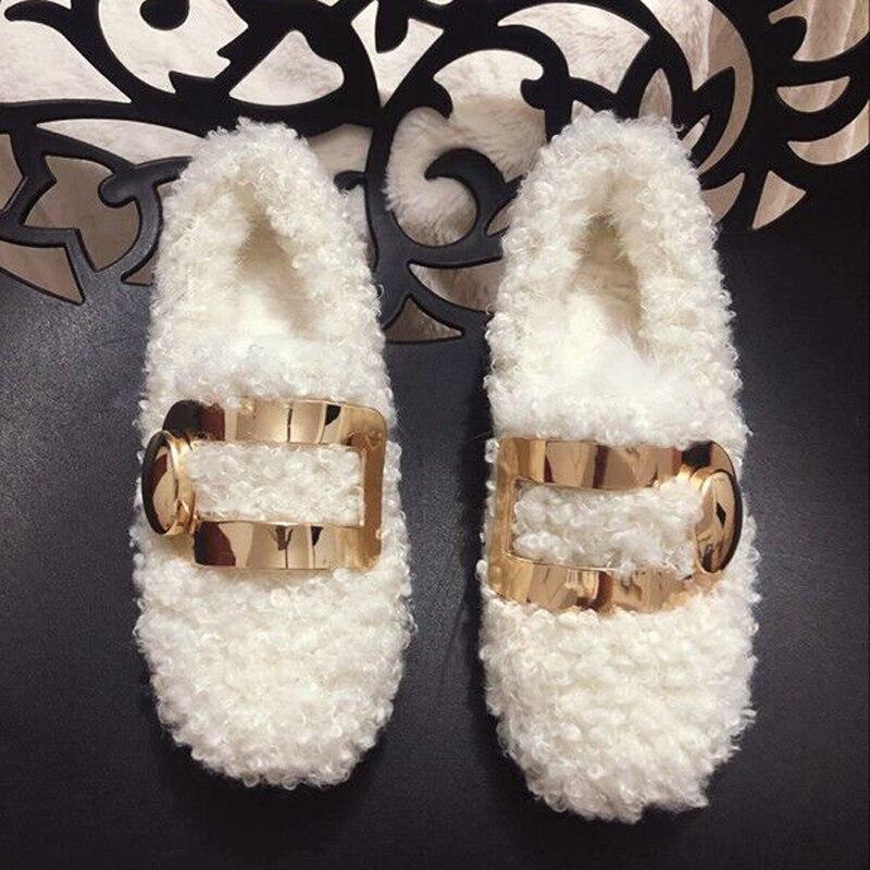 Bout 2019 Noir blanc Laine Mocassins Rond Plat Femme Hiver Fourrure En De Boucle Casual Décor Chaussures Métal YYfrqa