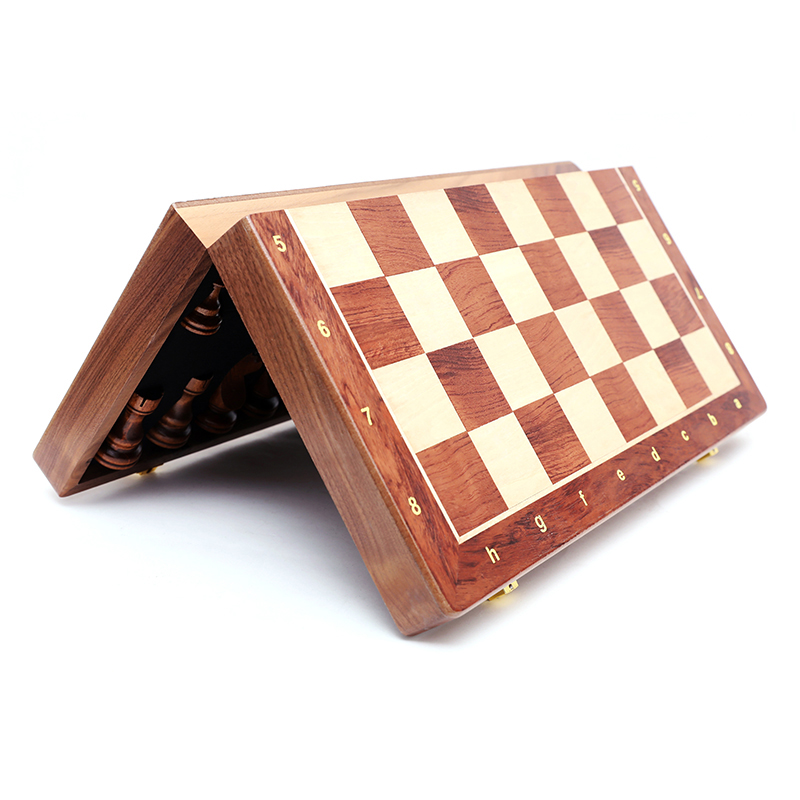 Hot Top Grade Wooden Folding Large Chess Set Handwork Solid Wood Pieces Walnut Chessboard Children Entertainment Gift Board Game 4