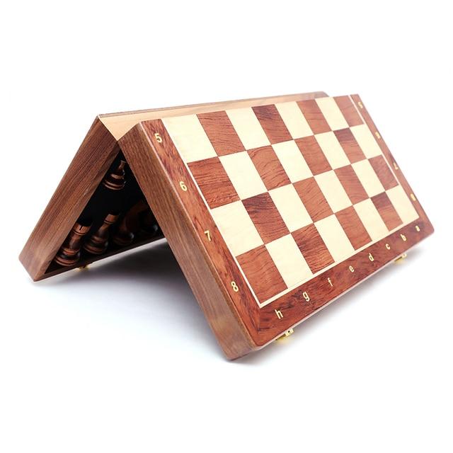 Jeu d'échecs pliant en bois de noyer, de qualité supérieure, produit manuel, pièces en bois massif pour enfants, divertissement, cadeau, jeu de société 5