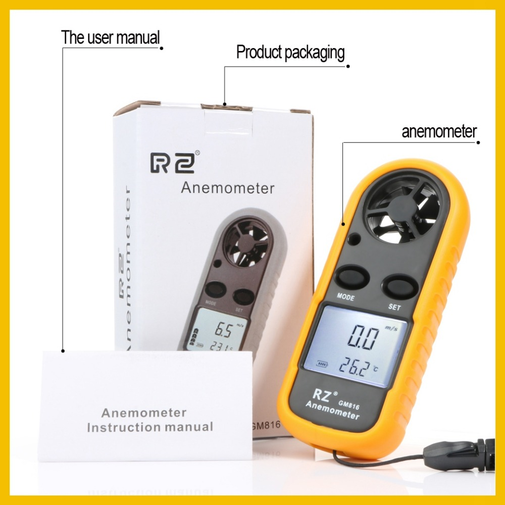 RZ New GM816 Portable Anemometer Anemometro Thermometer Wind Speed Gauge Meter Windmeter 30m/s LCD Digital Hand-held Measure