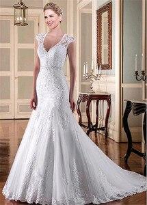 Image 2 - Tulle V neck Neckline Mermaid Wedding Dresses With Beadings Lace Applqiques Bridal Dresses Illusion Back