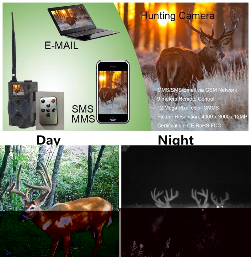 12MP MMS/EMAIL/SMS/GPRS 2G Wireless Hunting Trail Camera HC-300M Photo Trap Night Vision Wild Camera sim900a development board gsm gprs stm32 module sms wireless data dtmf mms