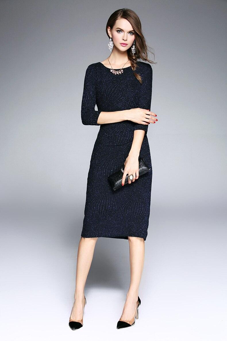 longueur Piste cou Printemps Robe Manches Fourreau Q534 Robes Vintage V 4 Designer Fashion Genou Femmes 3 Véritable Élégant t1ZqUw