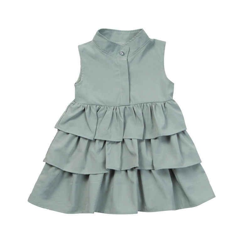Mùa hè Dễ Thương Đen Xanh Bầu Bé Gái Váy Đầm Bé Gái Đầm Dự Tiệc Không Tay Cổ tròn Bánh Xù Lông Tutu Bong Bóng Đầm 1-4 T