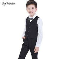 Brand Baby Flowers Boys Formal Suit Wedding Birthday Dress Gentleman Kids Waistcoat Shirt Pant Bowtie 4Pcs Children Costumes F30