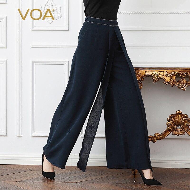 VOA Heavy Silk Plus Size Loose Office Lady Trouser Navy Blue Women Wide Leg Pants Mid Waist Brief Basic Business Pants K352