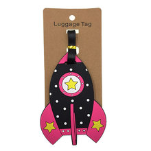 Cartoon Rocket Luggage Tags Silica Gel Suitcase Kawaii ID Addres Holder Baggage Boarding Travel Accessories Portable Label Women(China)
