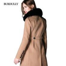 Burdully 2017 осень-зима теплый меховой воротник шерсть кашемировое пальто женские длинные шерстяные пальто для дам casaco feminino Inverno