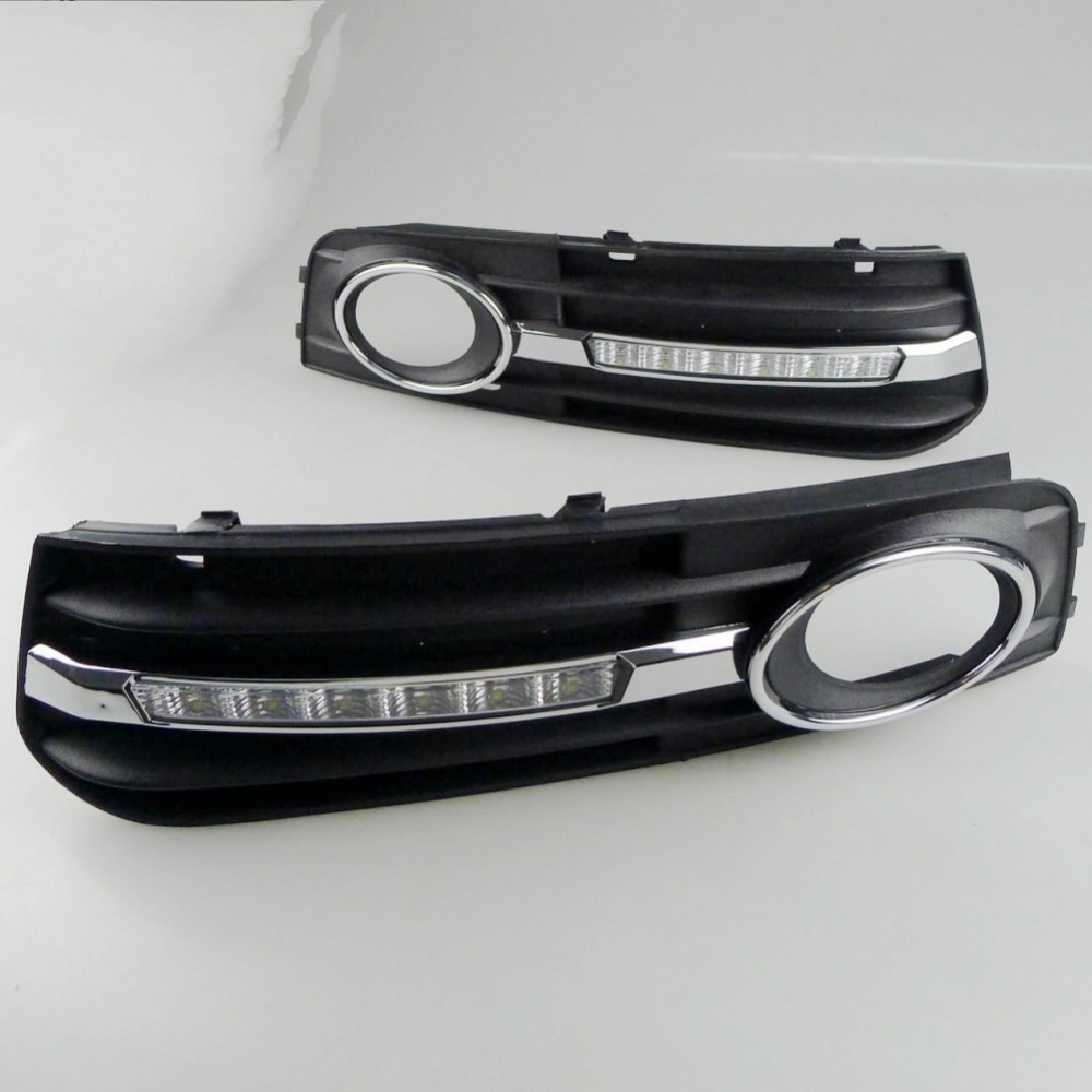 Car Styling For Audi A4 A4L 8E/B8 c 2007 2008 2009 2010 2011 6 Leds DRL LED Daytime Running Lights Car Fog Cover Bumper Light led car light for audi a4 a4l b8 2009 2010 2011 2012 car styling led drl daytime running light daylight fog lamp cover hole