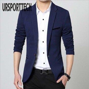 fec7396a0af15 Erkek Moda Marka Blazer İngiliz Tarzı Rahat Slim Fit Takım Elbise Ceket  Erkek Blazers Erkekler Ceket Terno Masculino Artı Boyutu 5XL