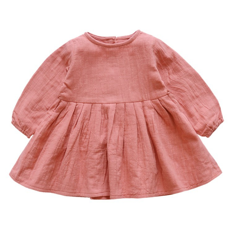 New 2018 Girls Dress Retro Cotton and Linen Girls Small Fresh Long-sleeve Dresses Baby Dress Princess Solid Casual Bow Dresses toddlers girls dots deer pleated cotton dress long sleeve dresses page 10
