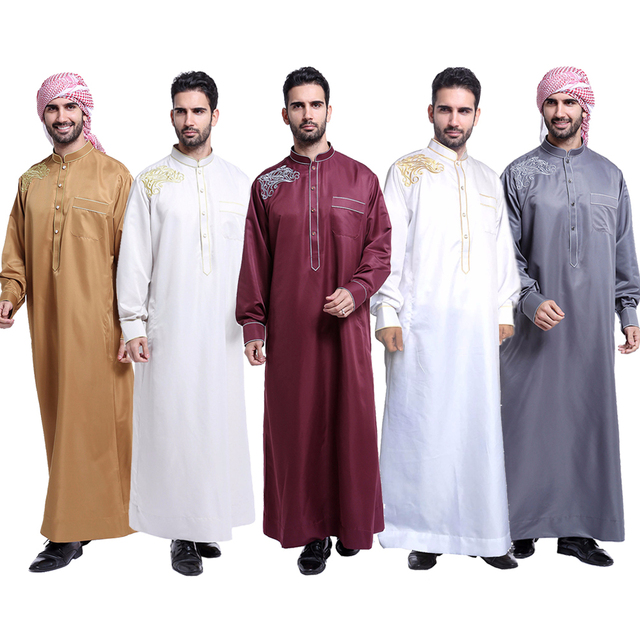 1b13abe204 Jubba Thobe for man Muslim Clothing Adult Dubai Kaftan Embroidery Arab  Indian Middle East Islamic Man Robes Plus Size 3XL