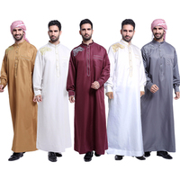 Jubba Thobe for man Muslim Clothing Adult Dubai Kaftan Embroidery Arab Dubai Indian Middle East Islamic Man Robes Plus Size 3XL