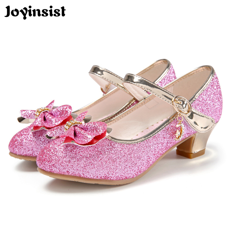 Childrens autumn crystal shoes 2018 spring and summer girls Princess shoes white baby high-heeled shoes