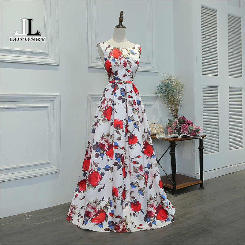 LOVONEY M219 Floor Length Long Prom Dress 2017 A Line Flower Pattern Satin Formal Party Dresses