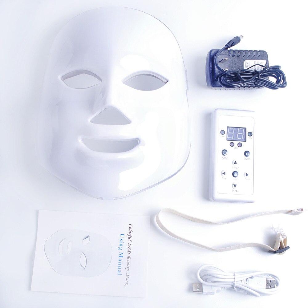 7 Colori Beauty Therapy Photon LED Luce Maschera Facciale Cura Della Pelle Ringiovanimento Rughe Acne Rimozione di Bellezza Viso Termale Strumento 30