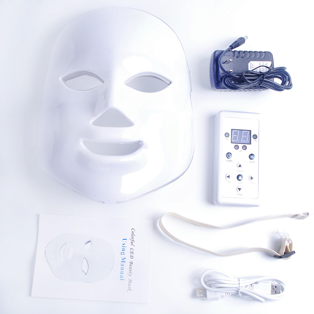 7 farben Schönheit Therapie Photon FÜHRTE Gesichts Maske Licht Hautpflege Verjüngung Falten Akne Entfernung Gesicht Schönheit Spa Instrument 30