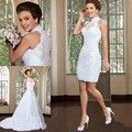 Длинные и Короткие Коллокации Свадебные Платья 2017 Высокая Шея Съемная Поезд Аппликации Кружева Платье Невесты На Заказ Платье De Noive