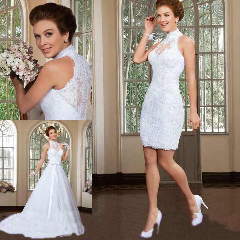 Detachable Trains Knee High: Long And Short Collocation Wedding Dresses 2017 High Neck