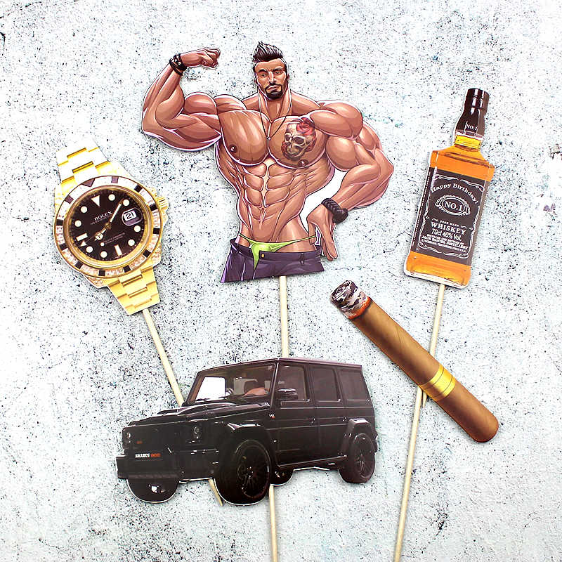 Brilliant Pack Of 5 Muscle Man Car Cake Toppers Picks Cupcake Topper For Boy Personalised Birthday Cards Xaembasilily Jamesorg