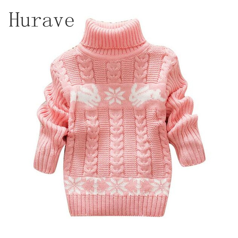 Hurave Winter Kids Cartoon Sweater Girls Clothes Child Pullover Girl Turtleneck Sweaters girls Infant Children Warm Outerwear
