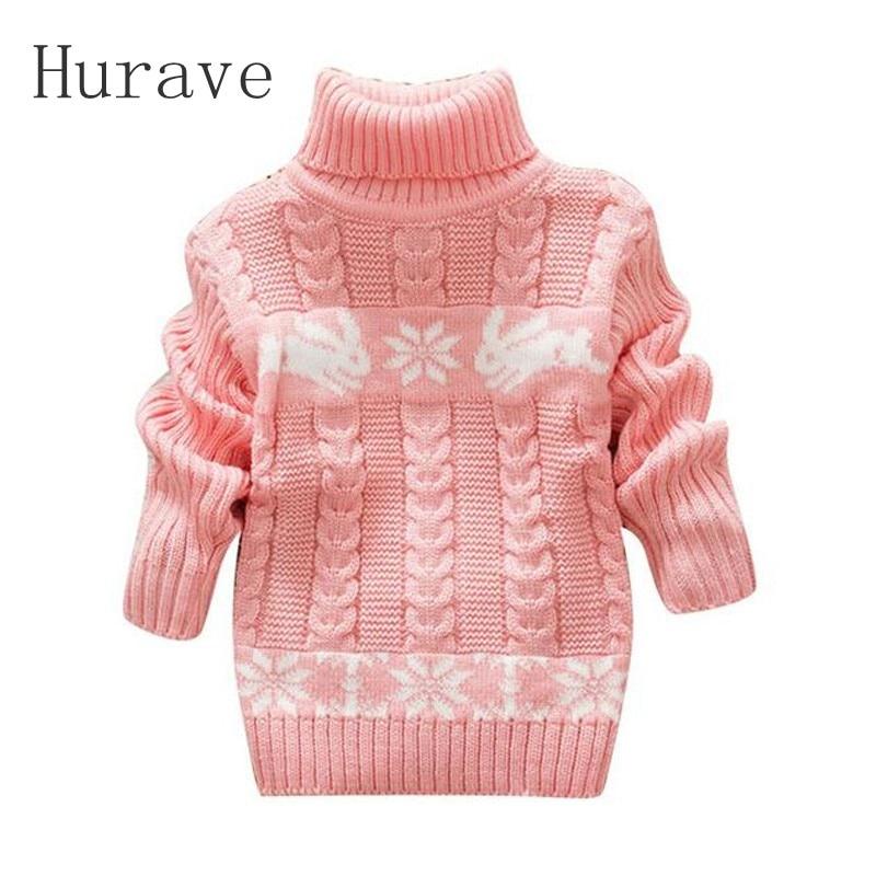 Hurave invierno Kids Cartoon suéter Niñas Ropa Jersey niño chica cuello  alto suéteres niñas bebé niños cálido abrigo 360d7dd8b3c8