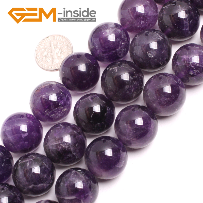 Gem-inside 19-20mm Natural Stone Beads Round Amethysts Beads For Jewelry Making Beads 15inch DIY Beads For Women 8mm 1 set round beads natural stone beads including buddha skull beads elastic string kit beads for jewelry making bracelet diy