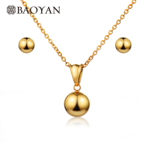 BAOYAN Simple Gold Plating Stainless Steel Ball Necklace and Earrings Jewelry Sets Vintage Wedding Bridal For Women