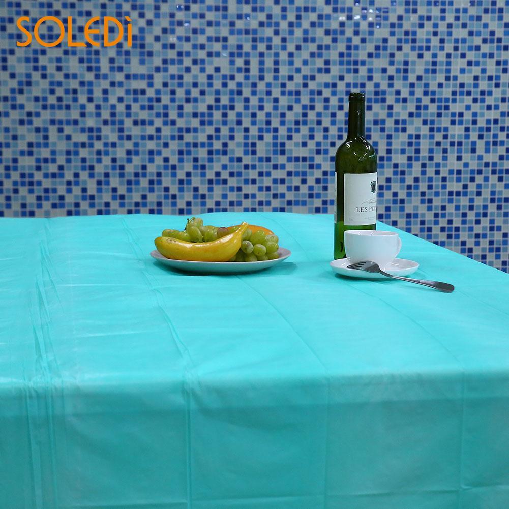 SOLEDI 20 цветов мягкий настольный бегун скатерть пластиковые товары для дома одноразовая скатерть для стола украшение стола - Цвет: lake blue