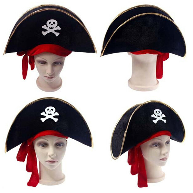 1 PC Halloween accessories skull hat caribbean pirate hat skull pirate hat  piracy hat Corsair cap party supplies f1b02876c635