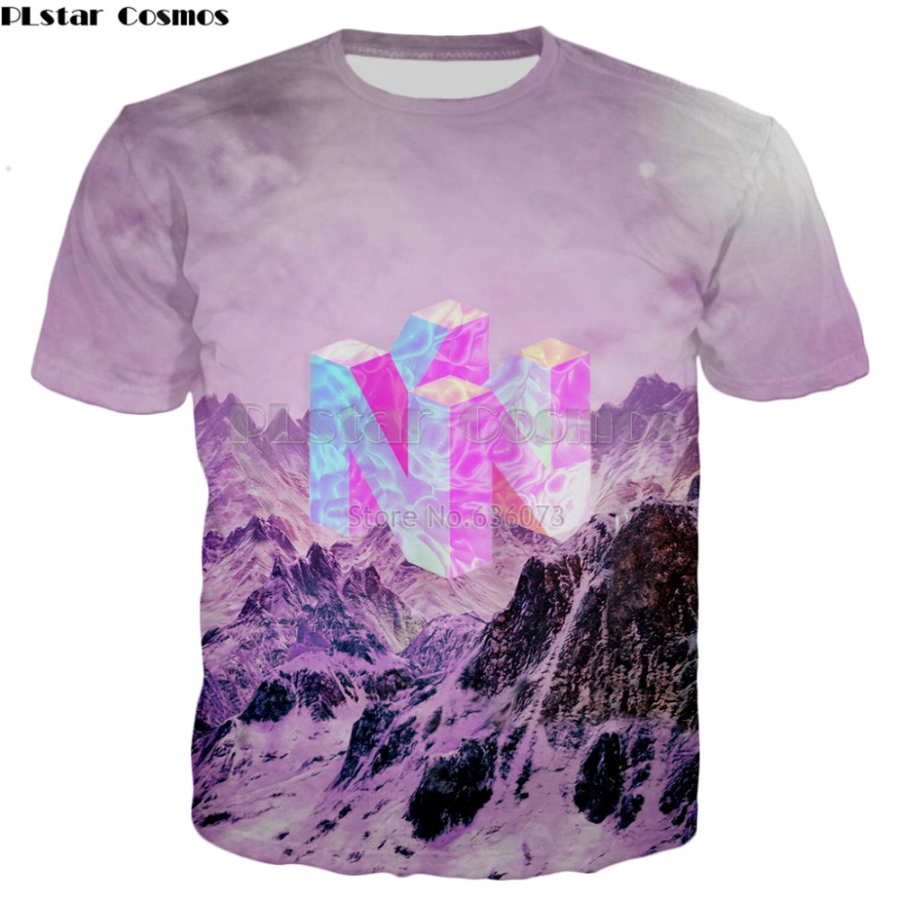 7623b899 PLstar Cosmos 2018 summer Fashion T-shirt Nintendo 64 Vaporwave Snowy  Mountain Collection game 3d