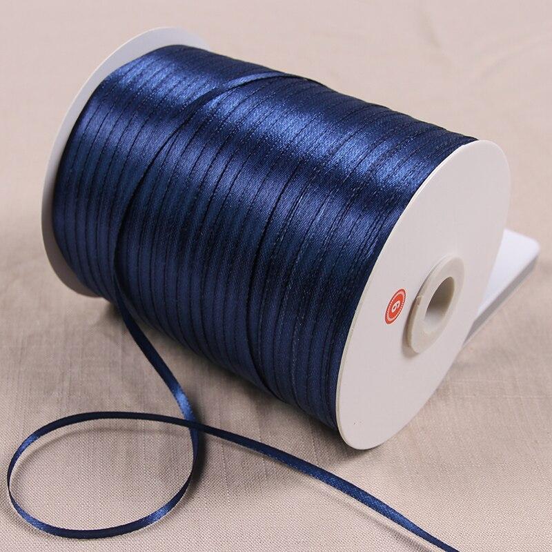 3 мм атласные ленты 22 м/лот DIY ручной работы товары для украшения свадьбы, дня рождения Подарочная упаковка белые ленты - Цвет: Темно-синий