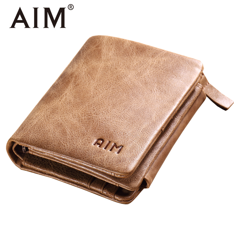 AIM Genuine Leather Three Fold Men Wallet Men's Short Wallet Zipper Famous Brand Women Card Holder Coin Purse Pocket A296 aim men short wallets 100% genuine cow leather wallet men famous brand knitting design card holder men s biford coin purse a293