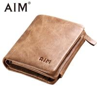 AIM Multifunction Genuine Leather Men Wallets Vintage Crazy Horse Trifold Zipper Wallet Famous Brand Male Card
