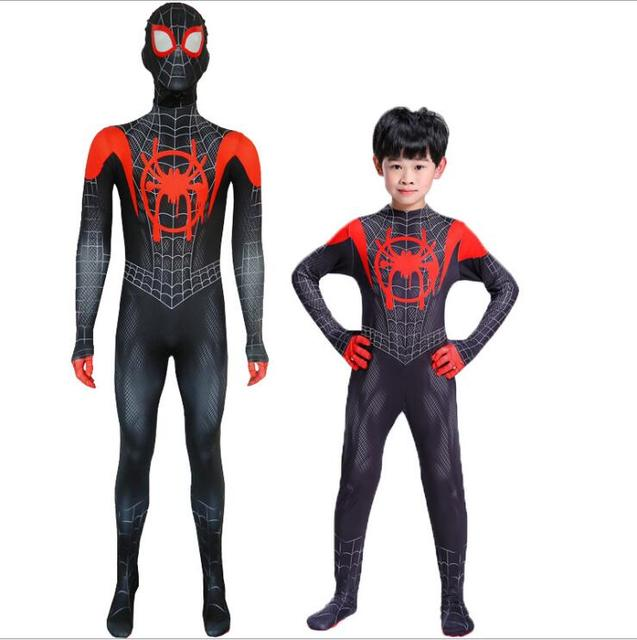 New 2018 Kids Spider-Man Into the Spider-Verse Miles Morales Cosplay Costume Zentai Spiderman Pattern Bodysuit Suit Jumpsuits 3