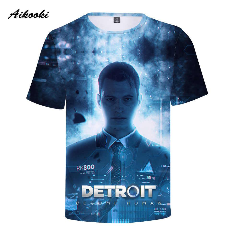 Aikooki футболки Детройт стать человеком Для мужчин футболка Для мужчин/Для женщин 3D футболки Повседневное человек Harajuku 3D RK800 футболка Для мужчин повседневное Топы