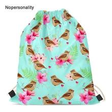 Nopersonality Flower Sparrow Print Travel Storage Bag for Women Lightweight Female Kids Drawstring Bag Beach Backbag