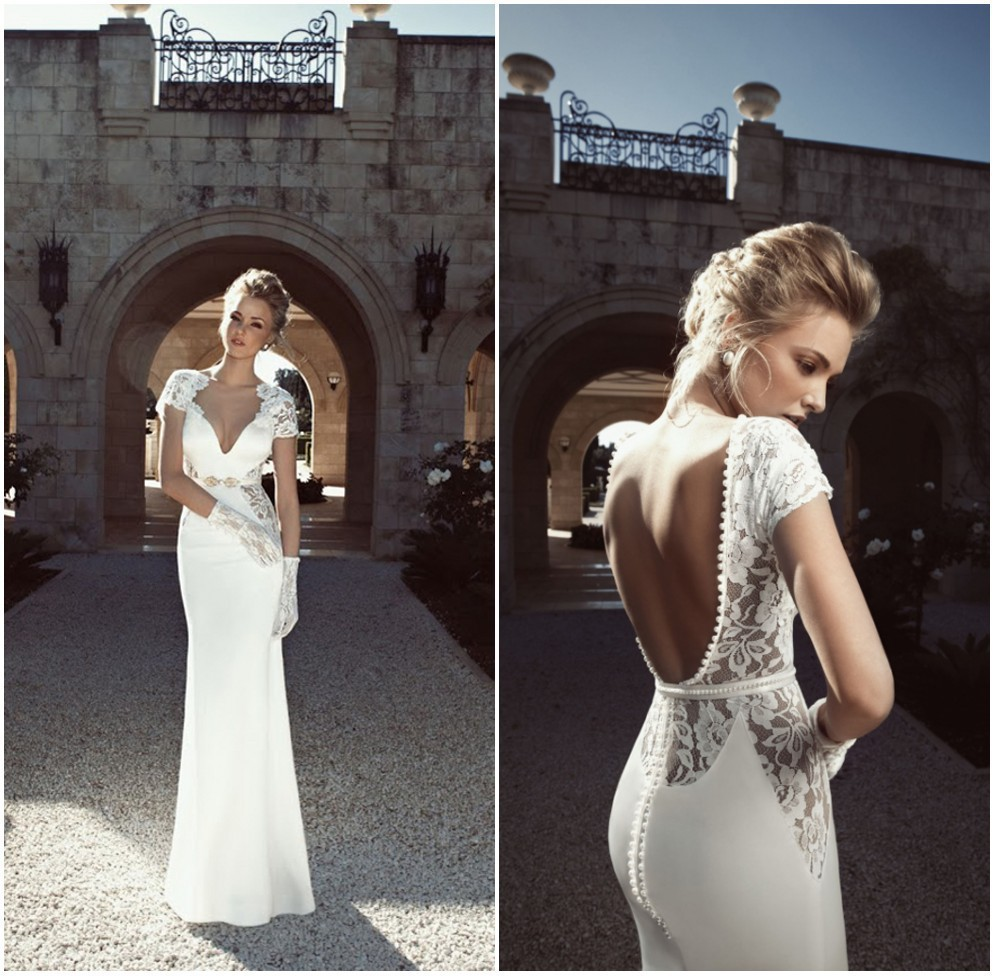 Vintage Sheath Sexy Open Back Lace Top Wedding Dress Short