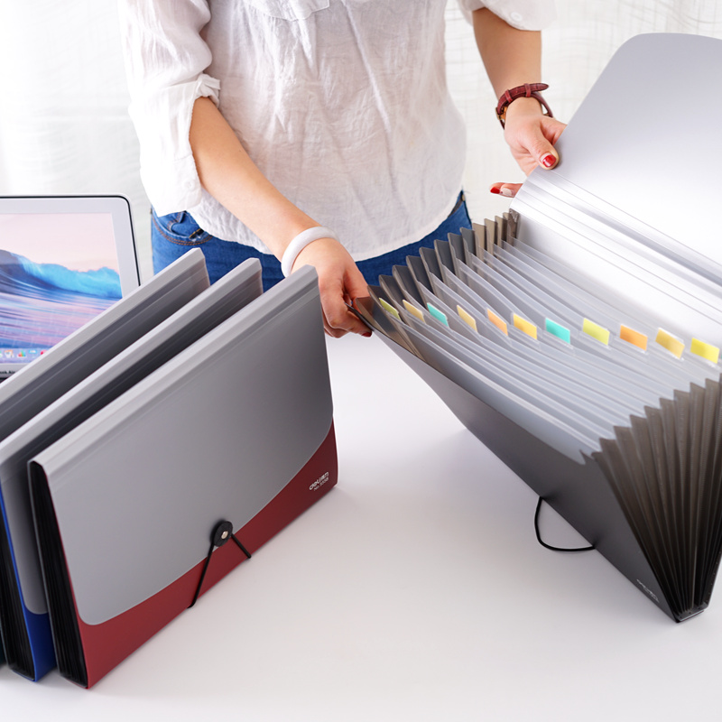 Deli Business Style A4 Document Holder A4 Paper Folder Storage Binder Pouch Package Office School Filing Storage Bag 13 Case