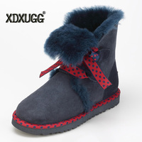 Australia Natural Sheep Fur One Snow Boots Female Winter Keep Warm Flat Bandage Calf Height Boots