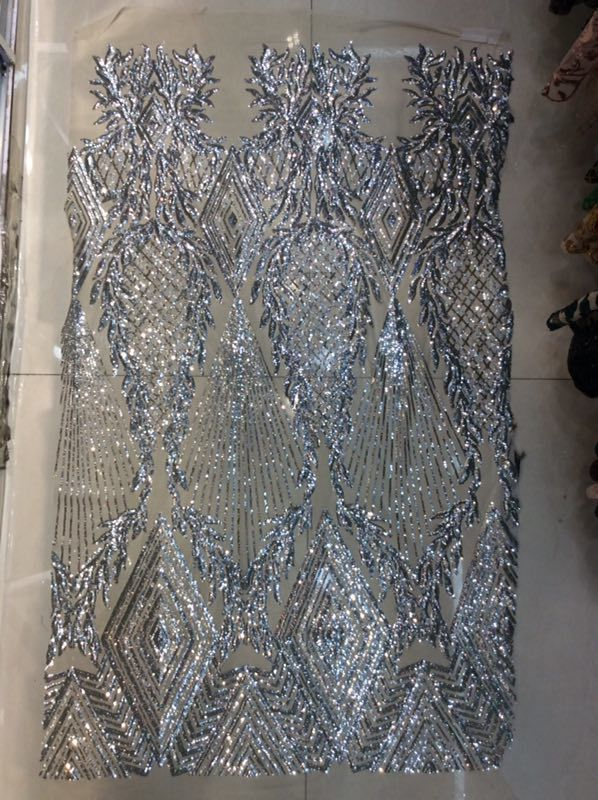 2018 New African Lace Fabric 450*135cm Fashion Tulle Sequin Fabric Silver High Quality African Sequin Lace Fabric 5yard/lot-in Lace from Home & Garden    1
