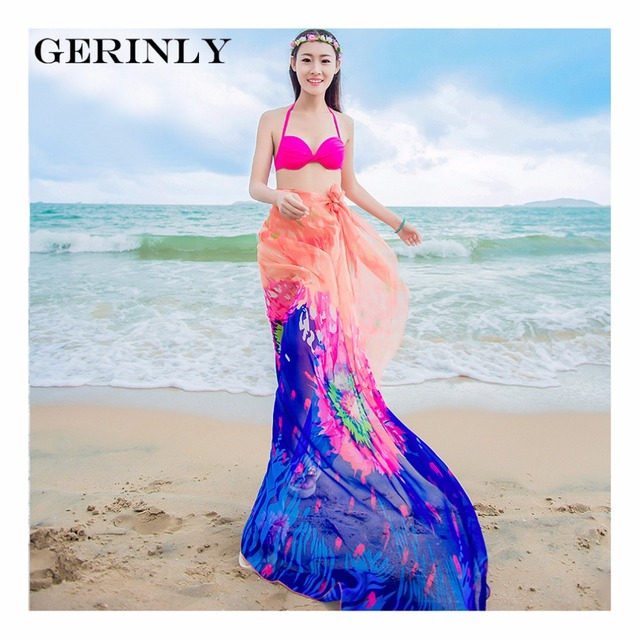 Scarves Pareo Sexy Women's Chiffon Sarongs Summer Bikini Scarf Swimsuit Dress Beach Cover Up Tunic Wraps Ladies Shawls 150*180cm 3