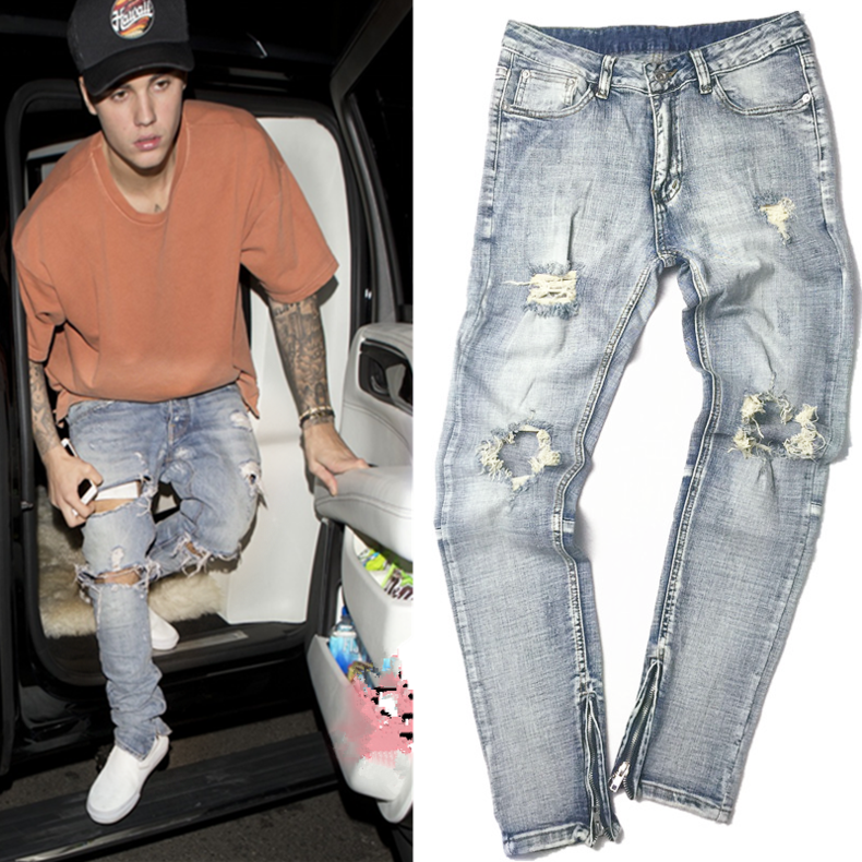 ФОТО Retails Spring Mens Vintage Knee Ripped Trousers with Side Zipper Slim Skinny Biker Jeans Male Free Shipping
