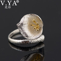 V YA Vintage Style Lily Floral Rings For Women Pure 925 Sterling Silver Flower Open Ring