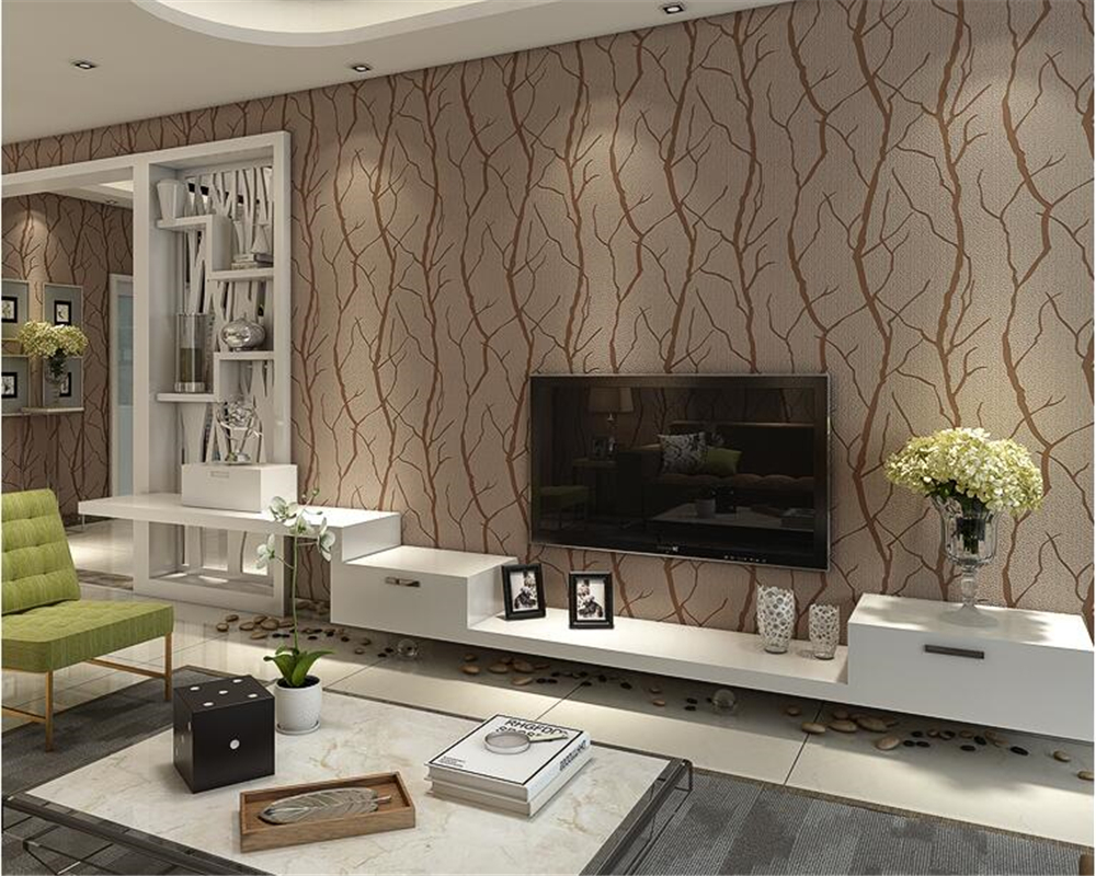beibehang Modern minimalist living room TV background sofa background wallpaper nonwoven 3D deerskin suede branches 3d wallpaper
