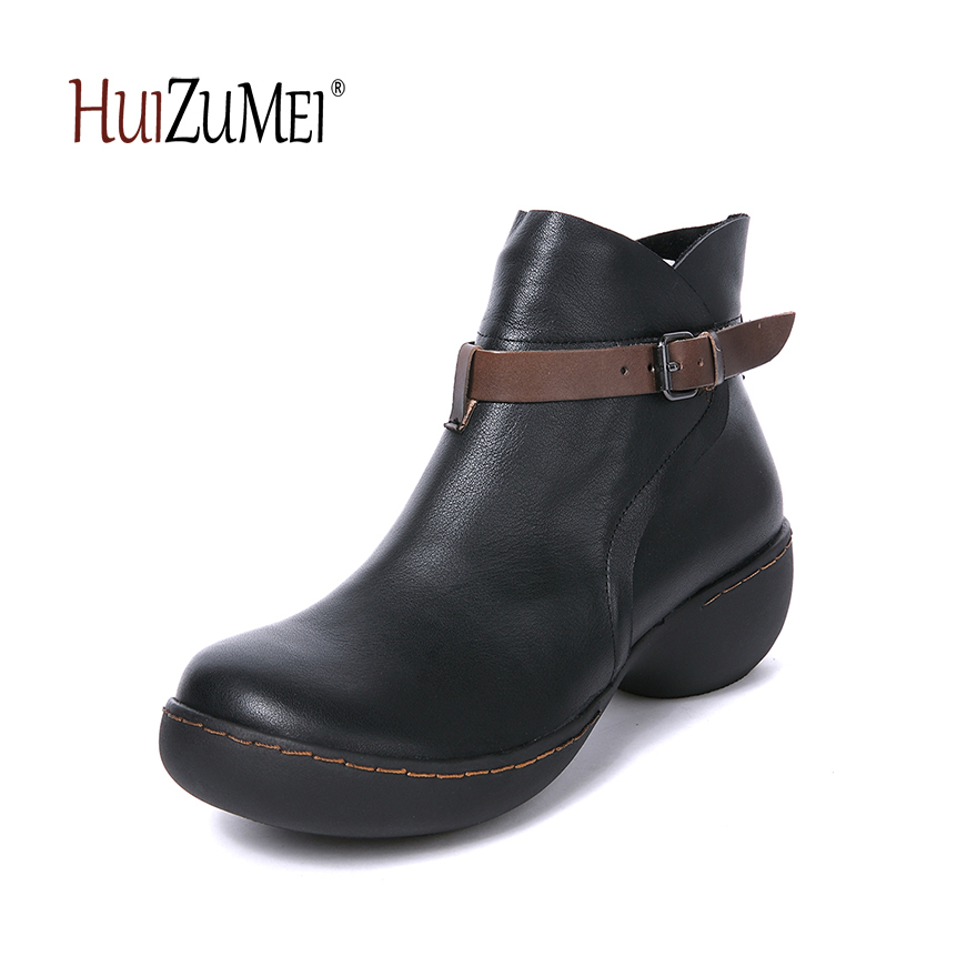 HUIZUMEI new handmade retro genuine leather boots women round toe winter boots ankle boots for women huizumei new genuine leather women s
